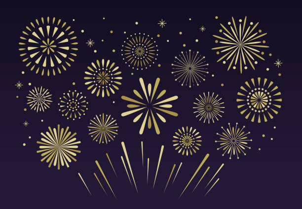 gold festive fireworks. christmas pyrotechnics firecracker vecto - fireworks stock illustrations