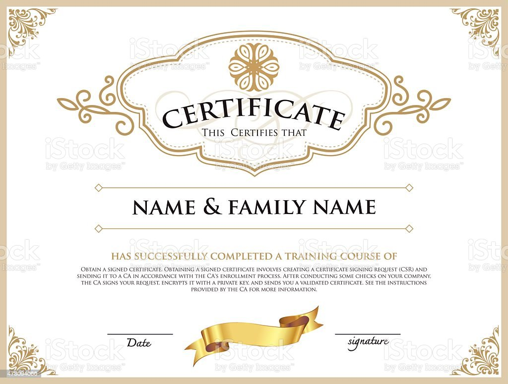 Gold filigree certificate of completion template stock vector art gold filigree certificate of completion template royalty free gold filigree certificate of completion template stock yadclub Choice Image