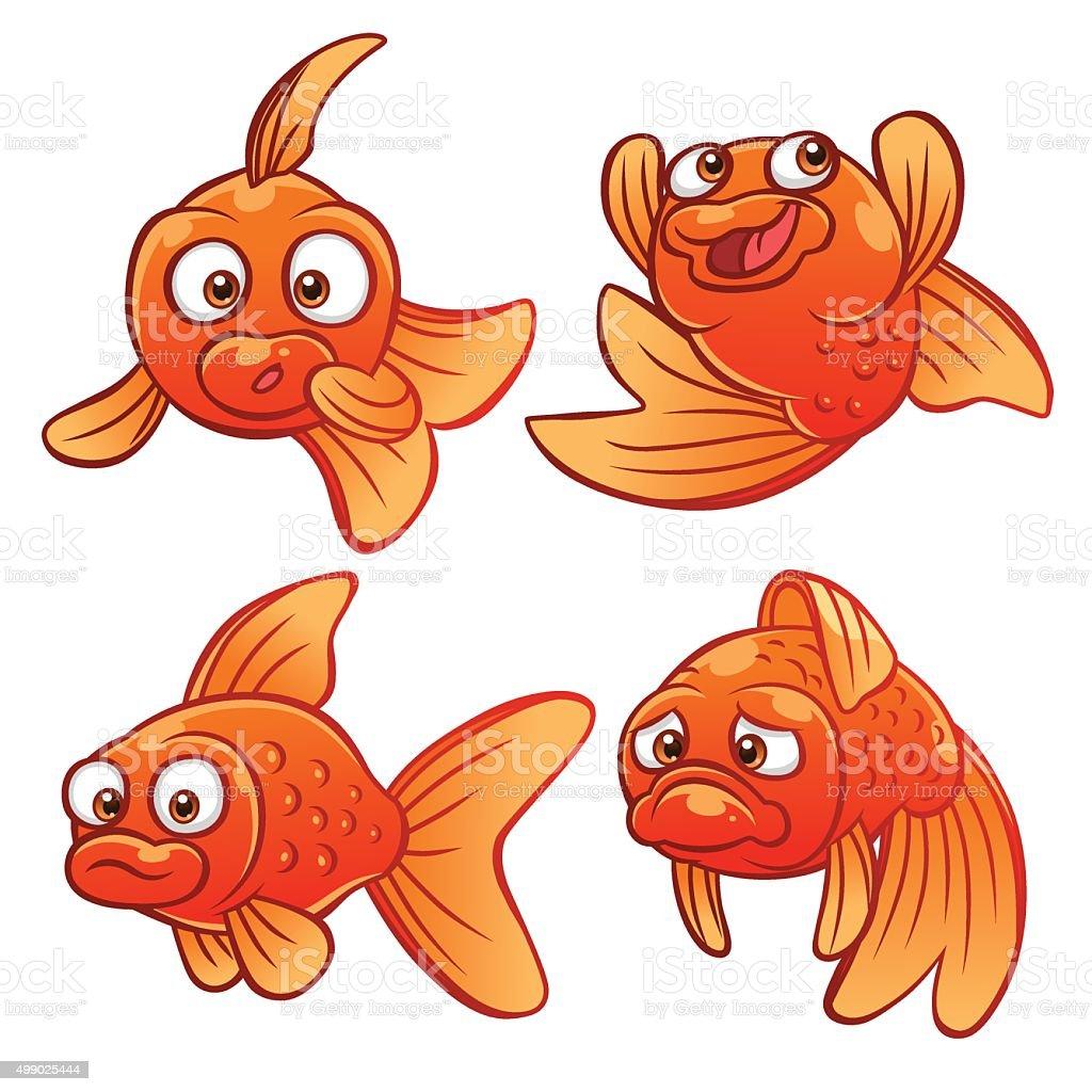 Gold fish emotions vector art illustration