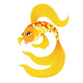 Gold fish from a fairy tale. Vector illustration