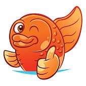 Gold fish gesturing thumb up