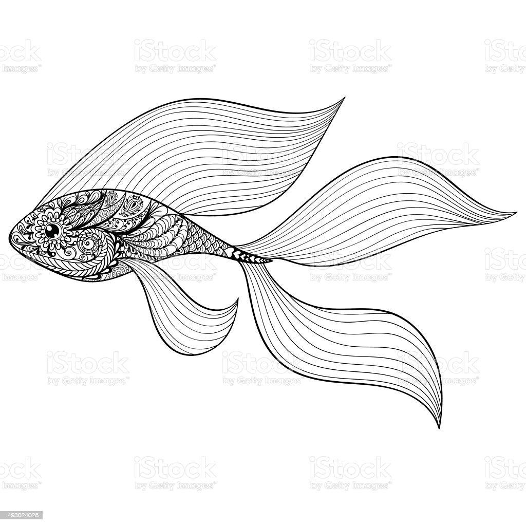 Ilustración de Zentangle Estilizadas Oro Peces Con Diseño Dibujados ...