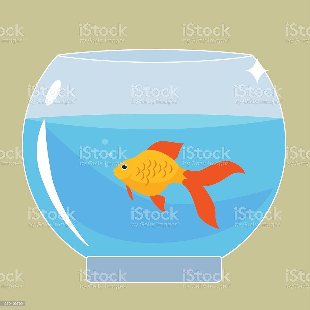 Gold fish in aquarium vector art illustration