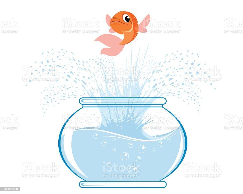Gold fish jumping vector art illustration