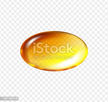Gold fish oil oval pill. Vitamin E, A or omega 3 oil cosmetic capsule. Golden jelly fish oil tablet. Vector realistic.