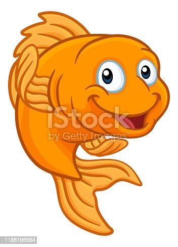 A friendly cartoon goldfish or gold fish character