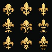 Set of gold Fleur De Lis elements.  Colors in gradients are global, so they can be changed easily.  Each element is grouped individually for easy editing.