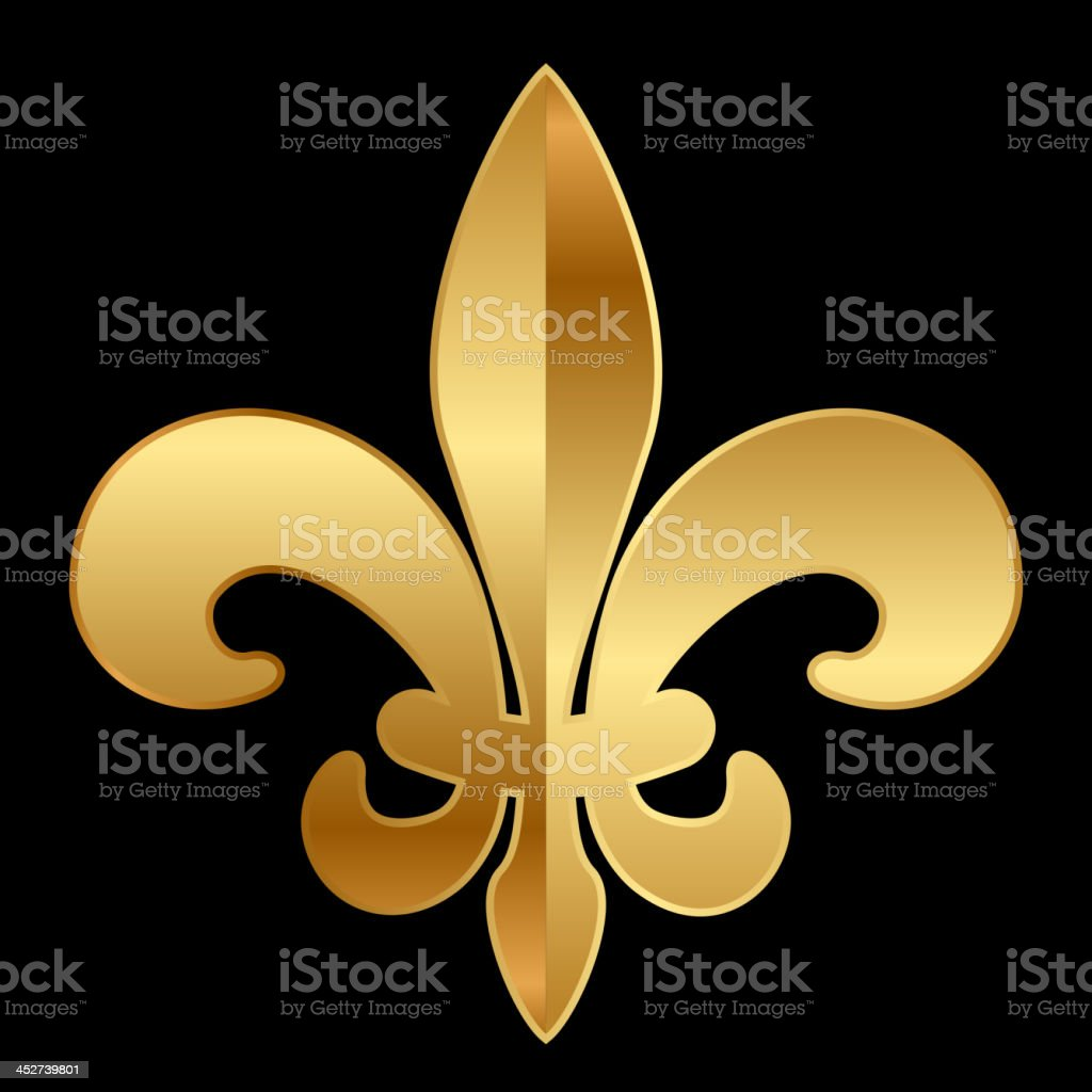 gold Fleur-de-lis ornament vector art illustration