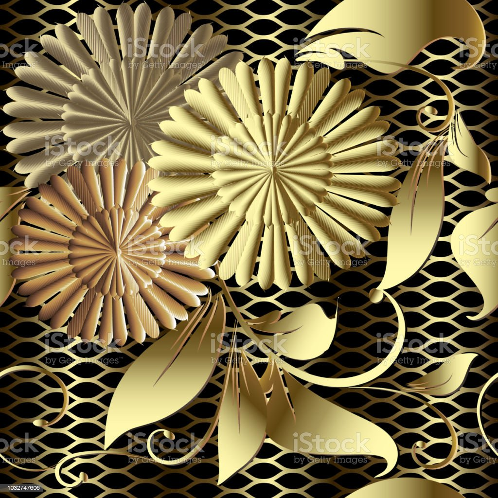 Gold Floral 3d Vector Seamless Pattern Textured Grid Lattice Background Luxury Ornate Wallpaper