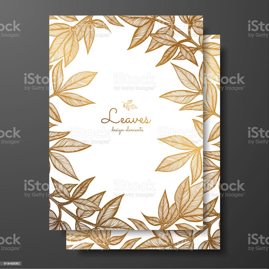 Gold Floral Card Template With Peony Leaves Template Frame For ...