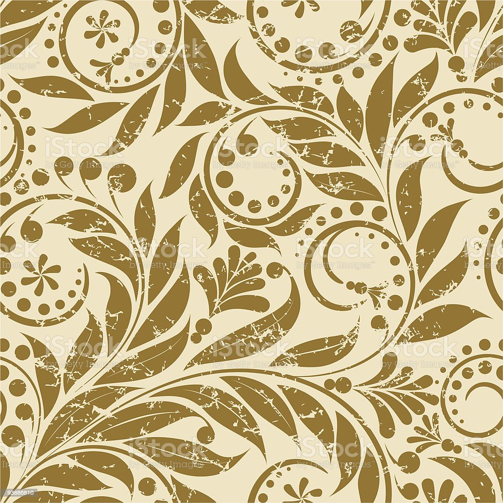 Gold floral design pattern on fabric royalty-free stock vector art