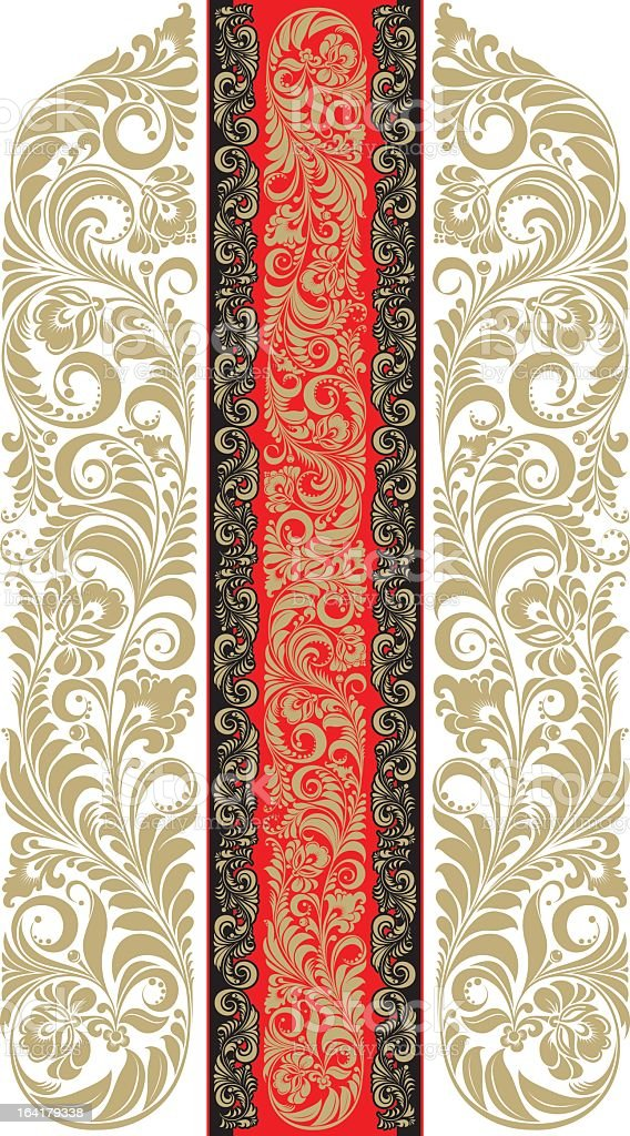 Gold floral filagree on a red banner on filagree background royalty-free stock vector art