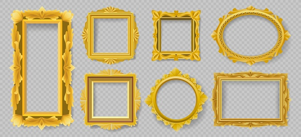 Gold floral picture frames