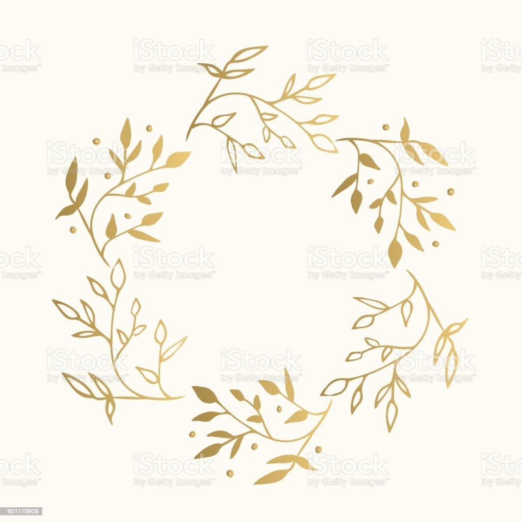 Floral Runde Goldrahmen Vektor Isoliert Stock Vektor Art und mehr ...