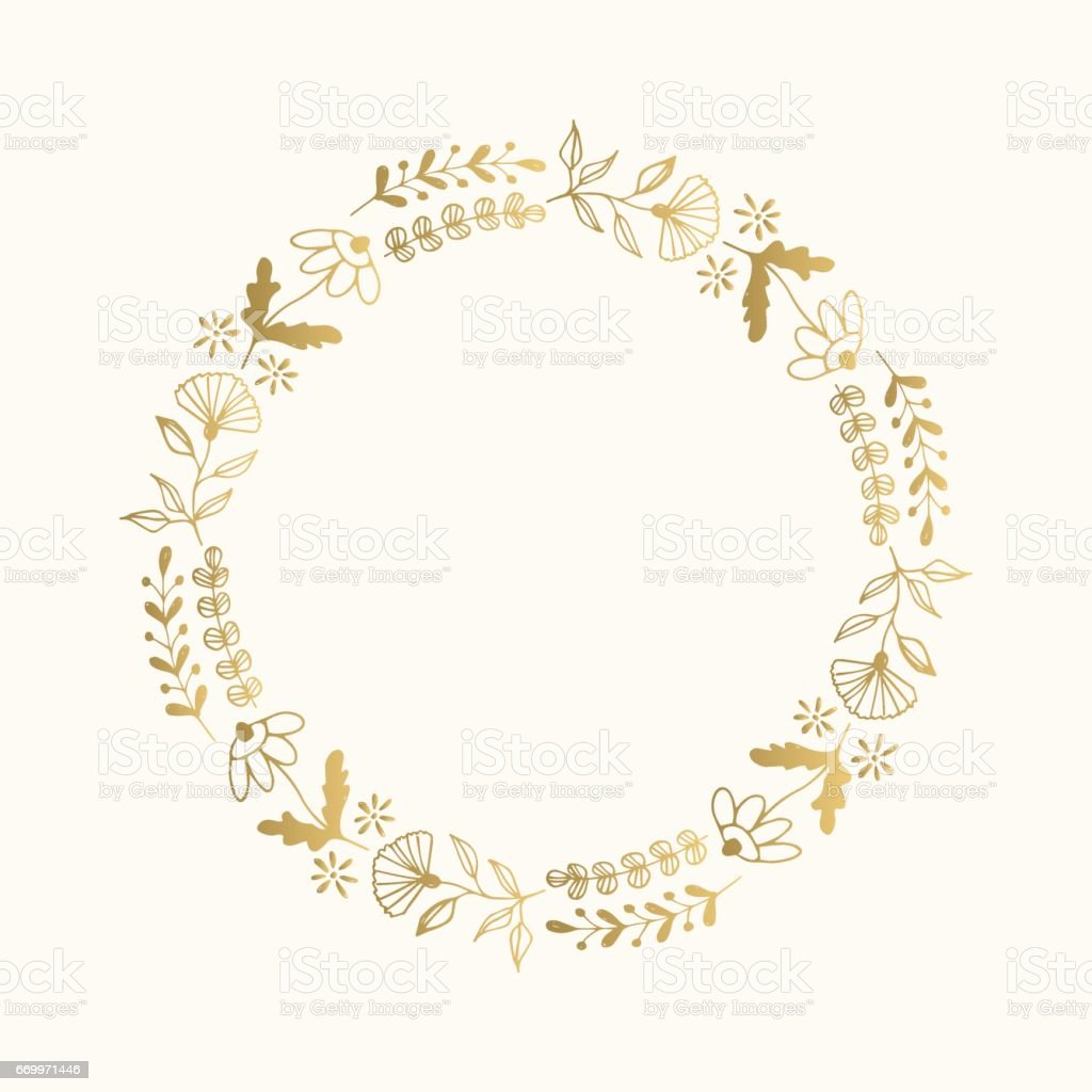 Gold Floral Round Frame Vector Isolated Gm669971446 122545569 on Gold Circle Frame
