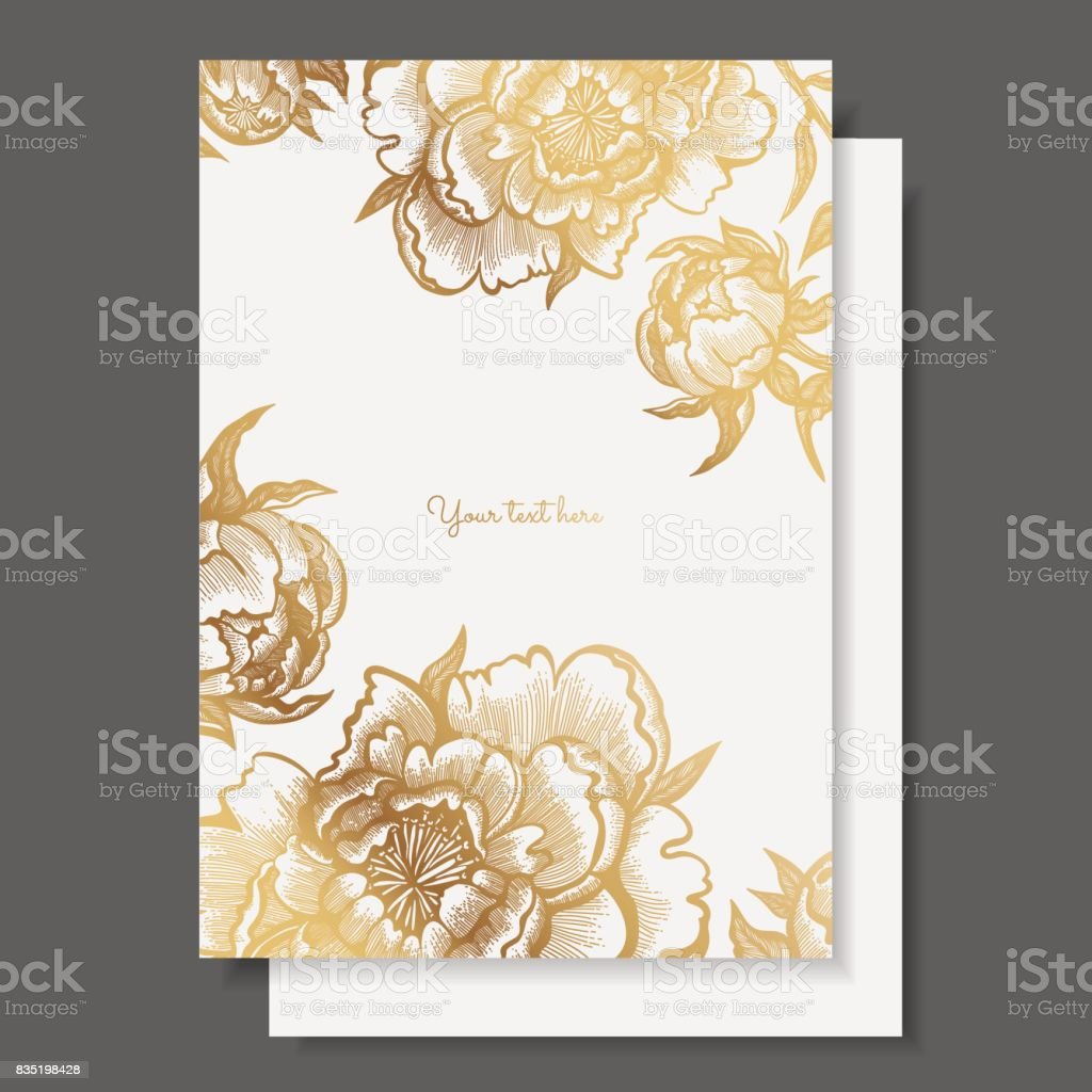 Gold flowers and leaves of peonies. Vector elements for design template. Ornate decor for invitations, wedding greeting cards, certificate, labels. - illustrazione arte vettoriale