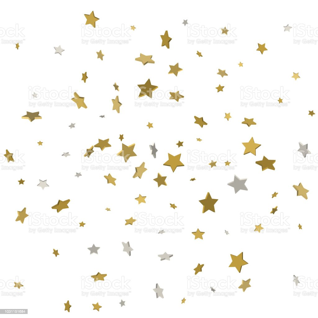 Gold Flying Stars Confetti Magic Christmas Frame Vector Premium ...