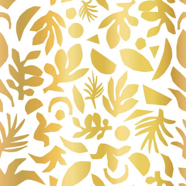 goldfolie abstrakte blumenpflanze formen nahtlose vektor hintergrund. - clipart goldene hochzeit stock-grafiken, -clipart, -cartoons und -symbole