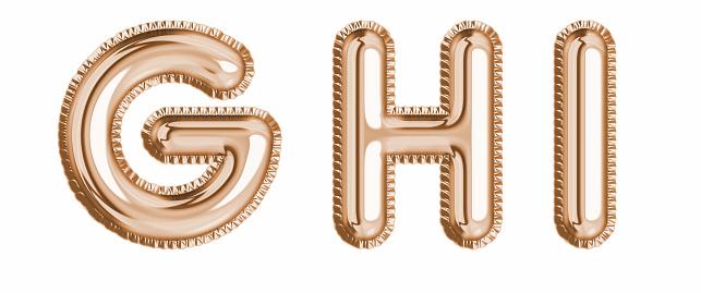 Gold foil balloon alphabet set letter G, H, I realistic 3d illustration metallic pink gold air balloon. Collection of balloon alphabet ready to use in headlines, greeting, celebration vector eps