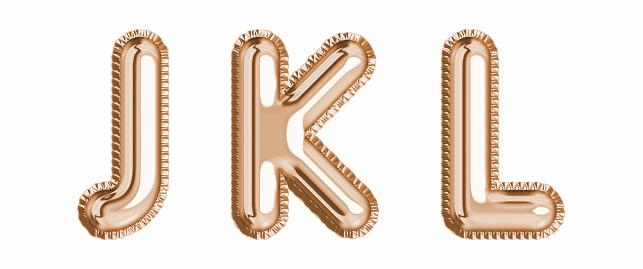 Gold foil balloon alphabet set letter J, K, L realistic 3d illustration metallic pink gold air balloon. Collection of balloon alphabet ready to use in headlines, greeting, celebration vector eps