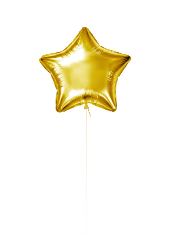 Gold foil balloon. Golden helium balloon star isolated on a white background