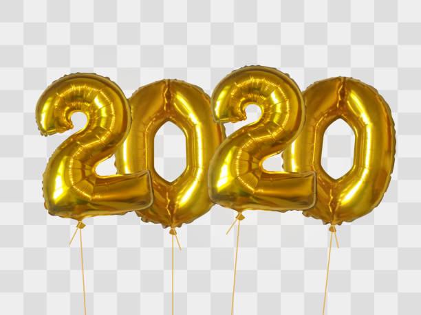 Gold foil balloons number 2020 vector art illustration