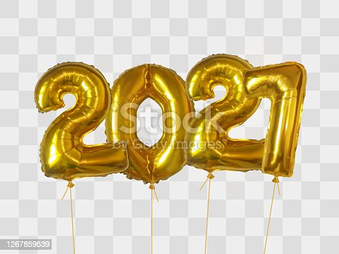 istock Gold foil balloons number 2021 1267859539