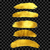 Gold Foil Brush Strokes Clip Art Collection. Set of Gold Paint Blots Isolated and Grouped Separately. Gold Ink Patches Set. Metallic Golden Texture Design Element for Greeting Cards and Labels, Abstract Background.