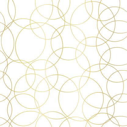 Gold foil circles abstract seamless vector pattern. Modern elegant background shiny golden overlapping circles on white. Design for web banner, blog, wedding, digital paper, celebration, invite