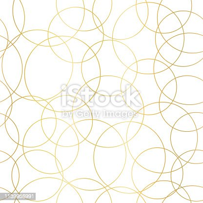 Gold foil circles abstract seamless vector pattern. Modern elegant background shiny golden overlapping circles on white. Design for web banner, blog, wedding, digital paper, celebration, invite.