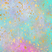 Gold Foil Confetti Pattern with Painted Background. Abstract Watercolour Background with Bright Color Brush Strokes. Banner design metallic golden texture for greeting cards, party invitation, packaging, surface design.