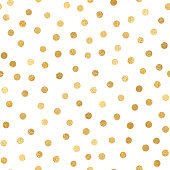 Gold Foil Confetti Seamless Pattern Background. Geometric abstract vector pattern tile. Repeating banner design metallic golden texture for cards, party invitation, packaging, surface design.