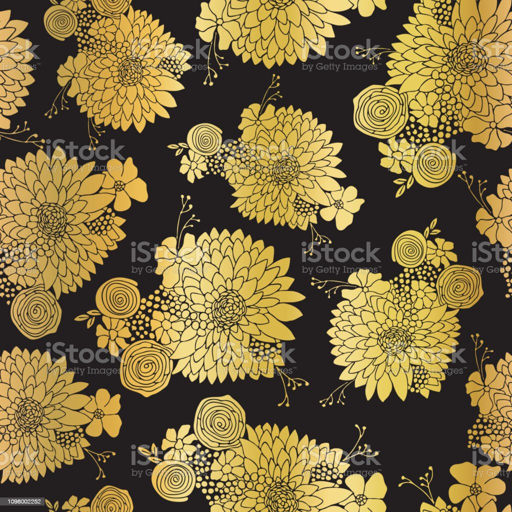 Gold foil Flower pattern seamless background vector. Floral arrangements in metallic on black with Aster, Daisy, Petunia, and chamomile. Elegant design for digital paper, wedding celebration, party vector art illustration