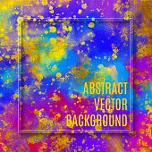Gold Foil Frame with Multi Colored Watercolor Brush Stroke. Soft Pastel Grunge Texture. Multicolored Brush Stroke Clip Art. Blue and Purple Blot Isolated. Elegant Texture Design Element for Greeting Cards and Labels, Abstract Background.