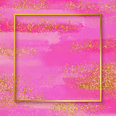Gold Foil Frame with Pink Watercolor Brush Stroke. Soft Pastel Grunge Texture. Pink Colored Brush Stroke Clip Art. Pink Blot Isolated. Elegant Texture Design Element for Greeting Cards and Labels, Abstract Background.