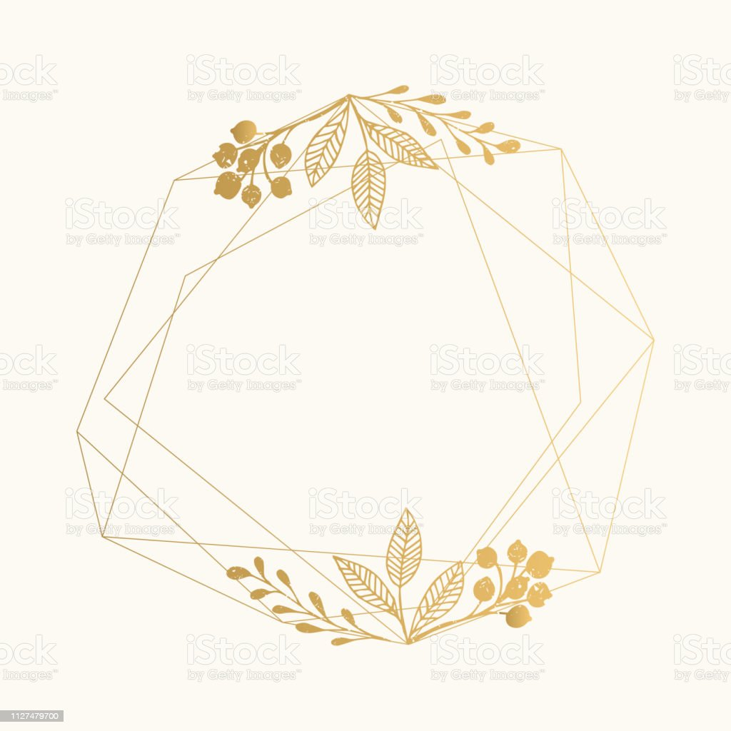 Gold Foil Geometric Frame With Leaves For Luxury Wedding Design Stock  Illustration - Download Image Now