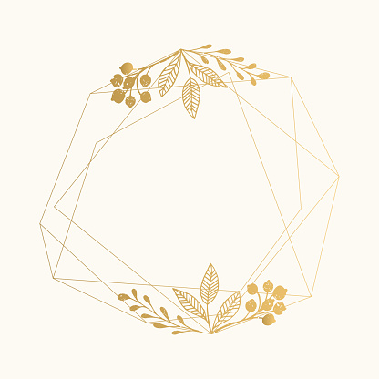 Gold foil geometric frame with leaves for luxury wedding design