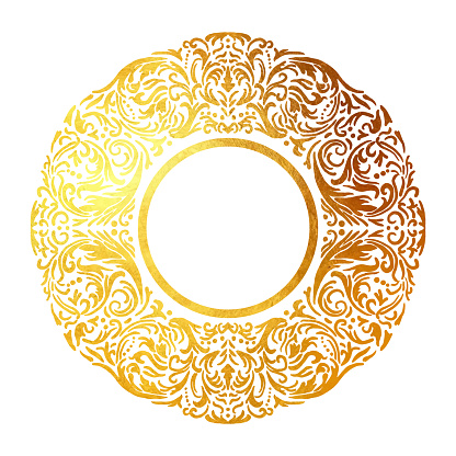 Gold Foil Hand Drawn Floral Mandala Frame. Circle Gold Foil Frame Isolated Background. Geometric Golden Frame Invitation Card Template. Gold Ring, Line Art. Vector Gold Border Design Element for Birthday, New Year, Christmas Card, Wedding Invitation.