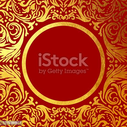 istock Gold Foil Hand Drawn Floral Mandala Frame. Circle Gold Foil Frame Isolated Background. Geometric Golden Frame Invitation Card Template. Gold Ring, Line Art. Vector Gold Border Design Element for Birthday, New Year, Christmas Card, Wedding Invitation. 1279386611