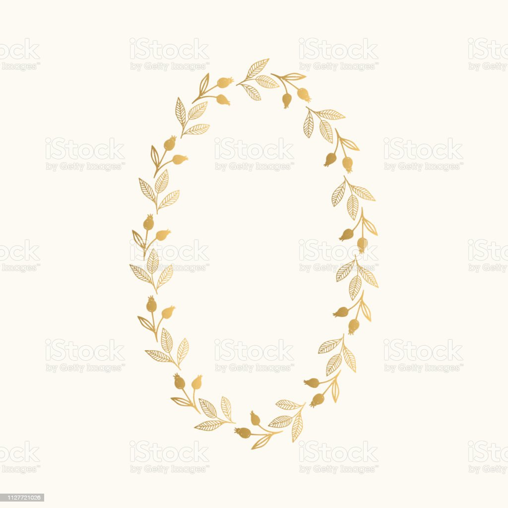 Gold foil hand drawn oval wreath with ink texture. Luxury flourish...