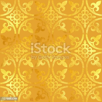 istock Gold Foil Hand Painted Metallic Tile. Seamless Arabic Style Pattern. Vector Tile Pattern, Lisbon Arabic Floral Mosaic, Mediterranean Seamless Gold Colored Ornament. 1276683244