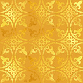 Gold Foil Hand Painted Metallic Tile. Seamless Arabic Style Pattern. Vector Tile Pattern, Lisbon Arabic Floral Mosaic, Mediterranean Seamless Gold Colored Ornament.