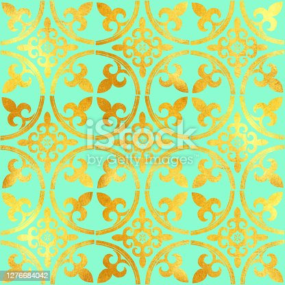 istock Gold Foil Hand Painted Metallic Tile. Seamless Arabic Style Pattern. Vector Tile Pattern, Lisbon Arabic Floral Mosaic, Mediterranean Seamless Gold Colored Ornament. 1276684042