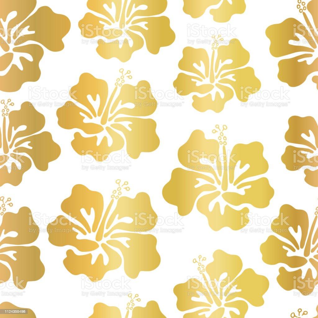 Ilustración De Hoja De Oro Hibiscus Flor Vector Transparente