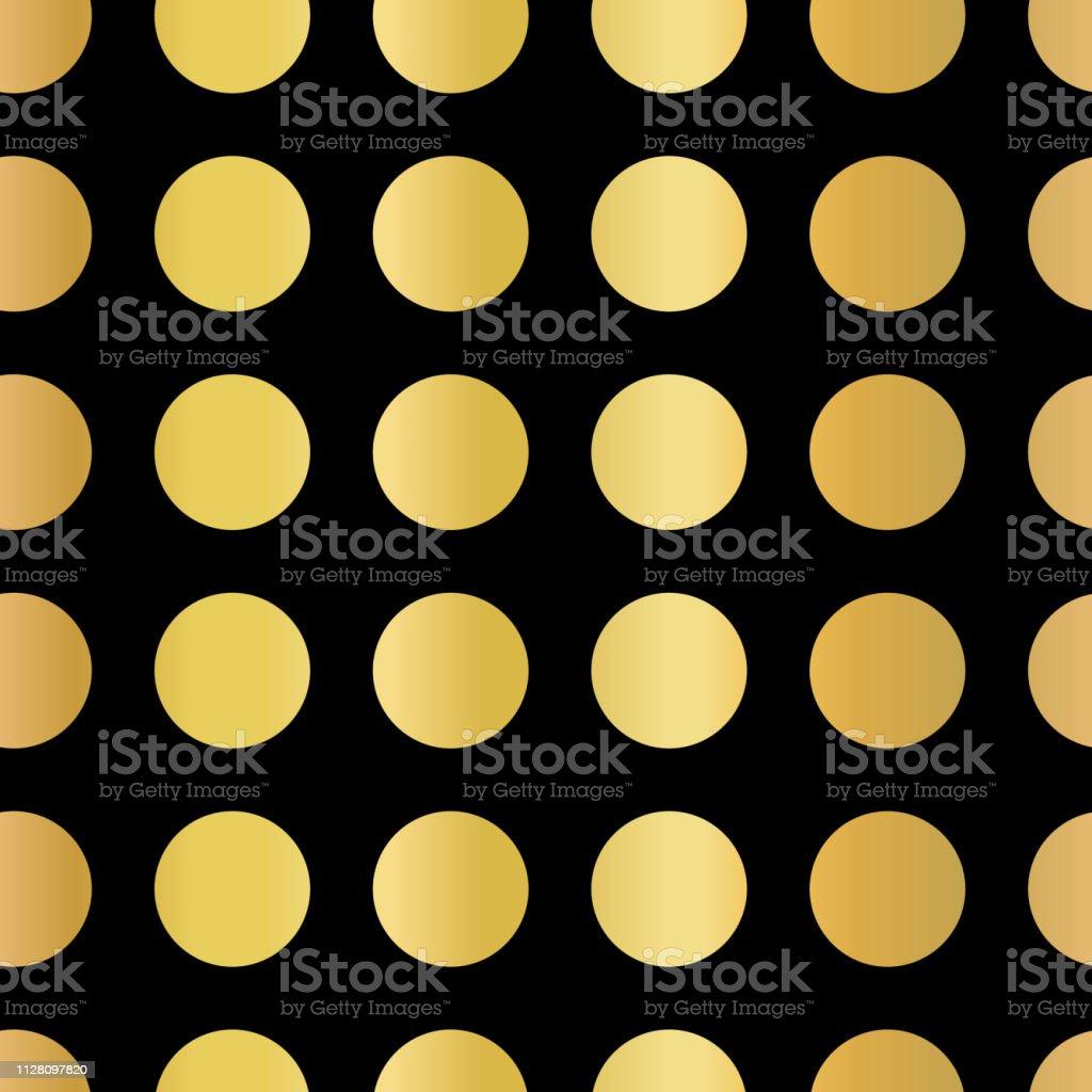 Gold foil polka dots pattern. Circles Seamless Vector. Shiny metallic...