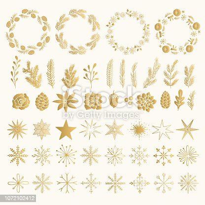 Gold foil set of Christmas wreath, plants, stars and snowflakes. Vintage isolated decorative elements. Holiday flourishes.