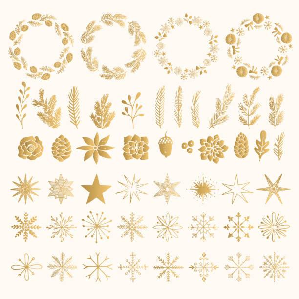 goldfolie set weihnachten kranz, pflanzen, sterne und schneeflocken. vintage-isolierte dekorative elemente. urlaub blüht. - laub winter stock-grafiken, -clipart, -cartoons und -symbole
