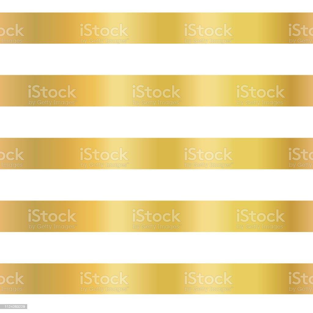 Gold foil stripe seamless vector background. Horizontal gold lines on white pattern. Elegant, simple, luxurious design for wallpaper, scrap booking, banner, wedding, party invite, birthday celebration vector art illustration