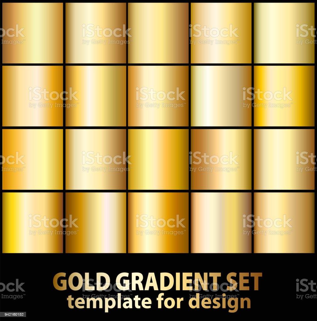 Gold foil texture background set. Realistic golden, copper vector...