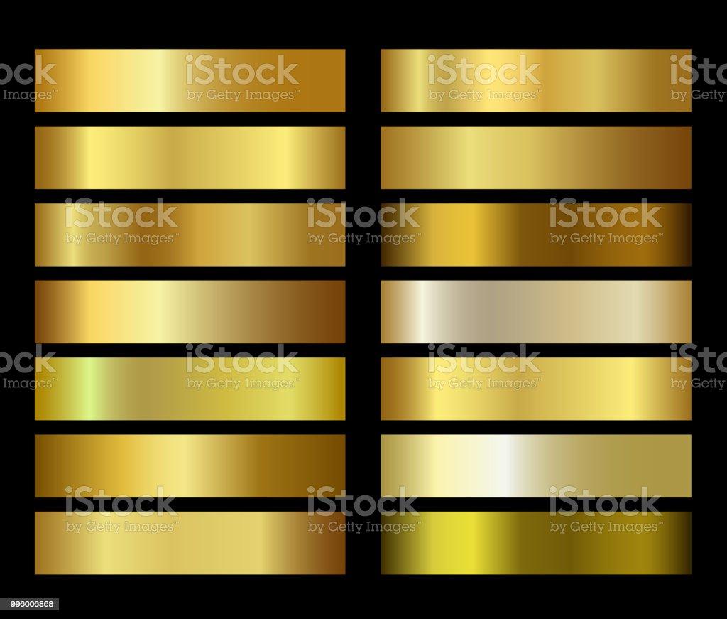 Gold foil texture gradients templates set - arte vettoriale royalty-free di Arte